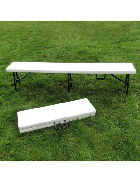 Banc pliant 183cm en polyéthylène pour table de réception