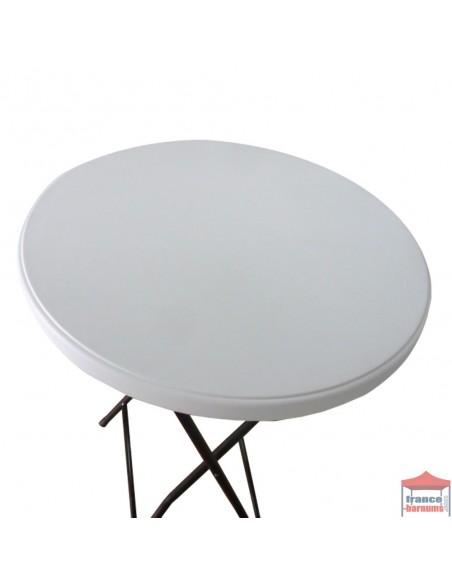 Pack contenant une table mange debout et une housse top blanche en stretch