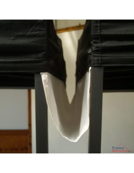 Gouttière de 4m pour tente pliante à fixer par bandes de velcro sur les bandeaux de la bâche de toit.