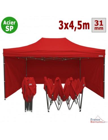 Barnum pliant - Tonnelle Acier Semi Pro 3mx4,5m ROUGE avec Pack 4 Côtés