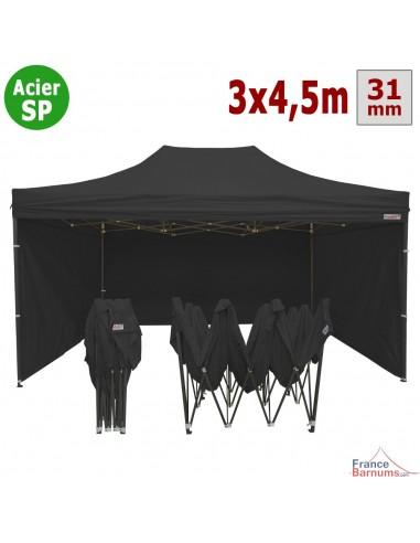 Barnum pliant - Tonnelle Acier Semi Pro 3mx4,5m NOIR avec Pack 4 Côtés