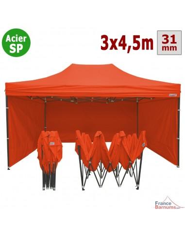 Barnum pliant - Tonnelle Acier Semi Pro 3mx4,5m ORANGE avec Pack 4 Côtés