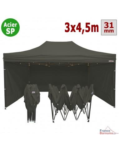 Barnum pliant - Tonnelle Acier Semi Pro 3mx4,5m GRIS TAUPE + Pack 4 Côtés