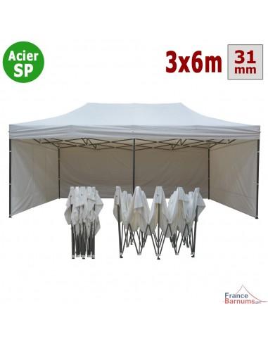 Barnum pliant - Tonnelle Acier Semi Pro 3mx6m BLANC avec Pack 4 Côtés
