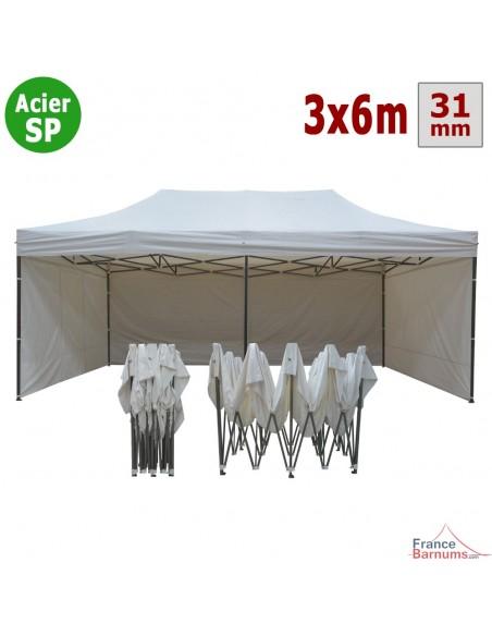 tente tonnelle pliante 3x6m blanc 320gr m capacit 40. Black Bedroom Furniture Sets. Home Design Ideas
