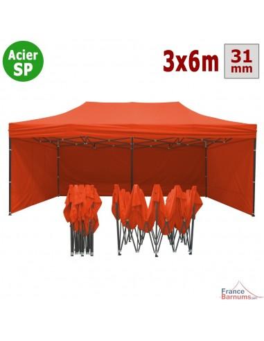 Barnum pliant - Tonnelle Acier Semi Pro 3mx6m ORANGE avec Pack 4 Côtés