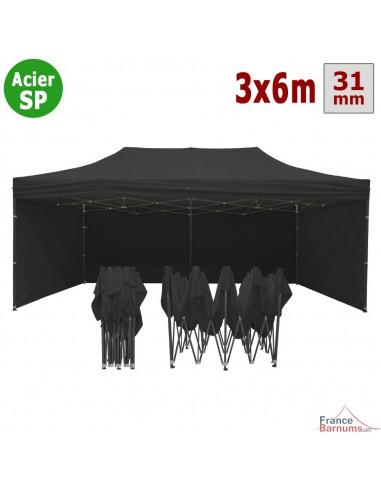Barnum pliant - Tonnelle Acier Semi Pro 3mx6m NOIR avec Pack 4 Côtés