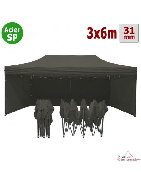 Barnum pliant - Tonnelle Acier Semi Pro 3mx6m GRIS TAUPE avec Pack 4 Côtés