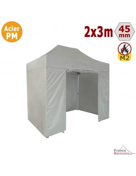 Barnum Pliant - Stand Acier Premium M2 2x3m BLANC + Pack Côtés 380gr/m²