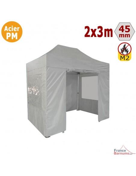 Barnum Pliant - Stand Acier Premium M2 2x3m BLANC + Pack Fenêtres 380gr/m²