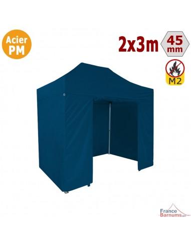Barnum Pliant - Stand Acier Premium M2 2x3m BLEU + Pack Côtés 380gr/m²