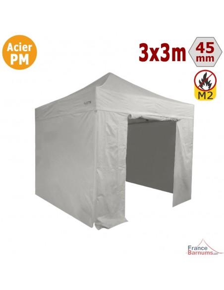 Barnum Pliant - Stand Acier Premium M2 3x3m BLANC + Pack Côtés 380gr/m²