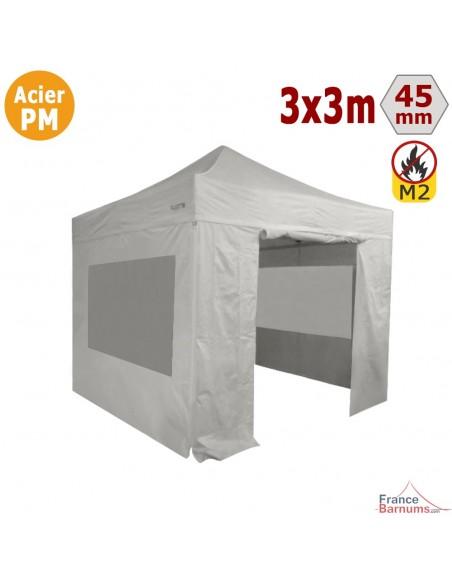 Barnum Pliant - Stand Acier Premium M2 3x3m BLANC + Pack Fenêtres 380gr/m²