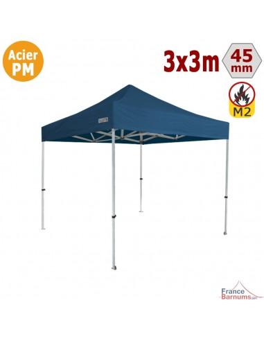 Barnum Pliant - Stand Acier Premium M2 3x3m BLEU 380gr/m²