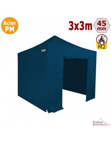 Barnum Pliant - Stand Acier Premium M2 3x3m BLEU + Pack Côtés 380gr/m²