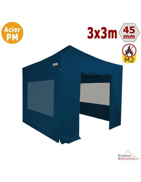 Barnum Pliant - Stand Acier Premium M2 3x3m BLEU + Pack Fenêtres 380gr/m²
