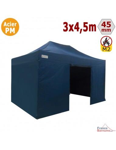 Barnum Pliant - Stand Acier Premium M2 3x4,5m BLEU + Pack Côtés 380gr/m²