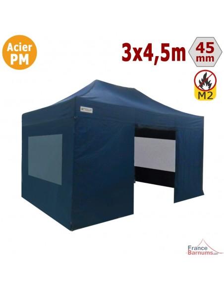 Barnum Pliant - Stand Acier Premium M2 3x4,5m BLEU + Pack Fenêtres 380gr/m²