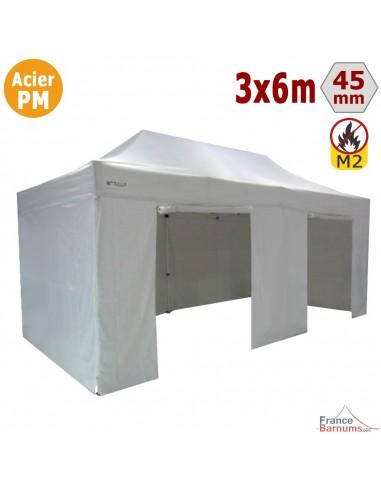 Barnum Pliant - Stand Acier Premium M2 3x6m BLANC + Pack Côtés 380gr/m²