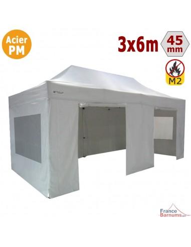 Barnum Pliant - Stand Acier Premium M2 3x6m BLANC + Pack Fenêtres 380gr/m²
