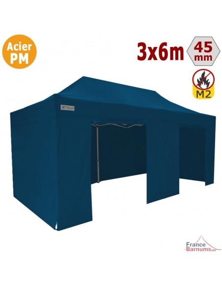 Barnum Pliant - Stand Acier Premium M2 3x6m BLEU + Pack Côtés 380gr/m²