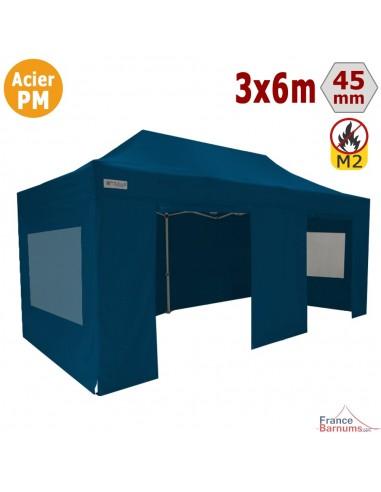 Barnum Pliant - Stand Acier Premium M2 3x6m BLEU + Pack Fenêtres 380gr/m²