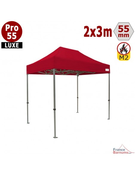 Barnum pliant rouge 2x3m de qualité professionnelle en aluminium et PVC