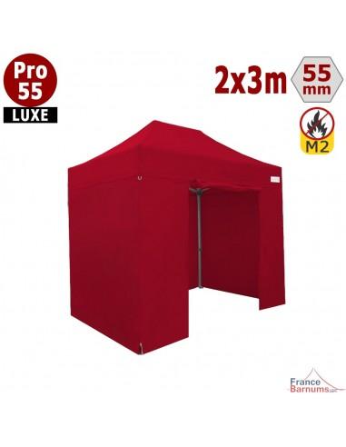 Barnum pliant professionnel 6m2 avec bâches en PVC rouge
