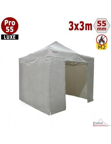 Barnum pliant 3x3m Alu Pro 55 blanc avec murs en bâche PVC