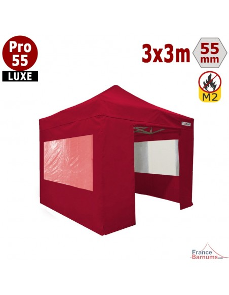 Barnum pliant Alu Pro 55 Rouge 3x3m avec pack fenêtres