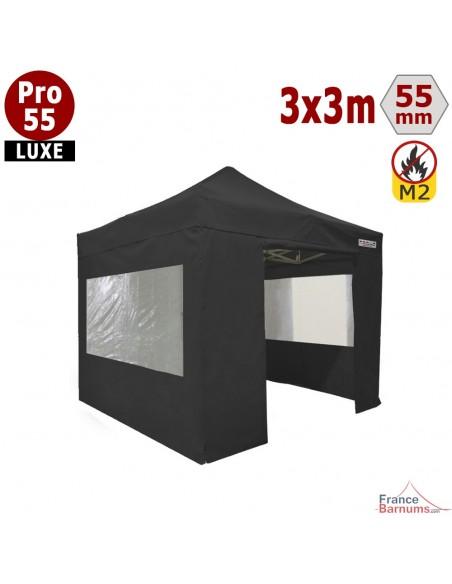 Barnum pliant Alu Pro 55 Noir 3x3m avec pack fenêtres