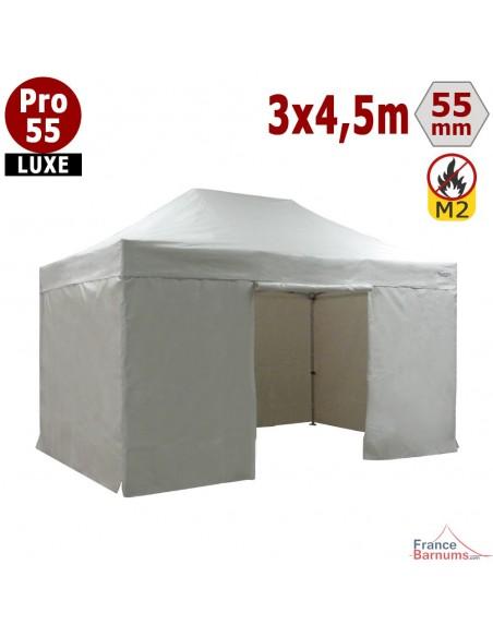 Barnum pliant 3x4,5m Alu Pro 55 blanc avec murs en bâche PVC