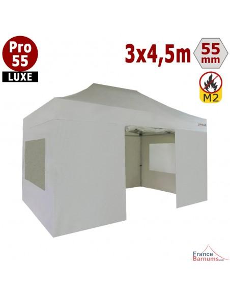 Barnum pliant 3x4,5m Alu Pro 55 blanc avec 2 murs fenêtres