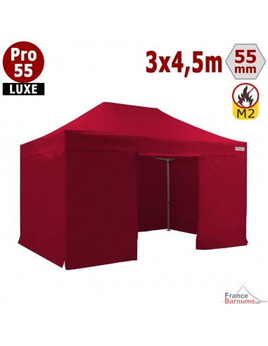 Barnum pliant 3x4,5m Alu Pro 55 rouge avec murs en bâche PVC