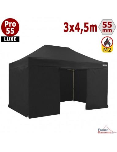 Barnum pliant 3x4,5m Alu Pro 55 noir avec murs en bâche PVC