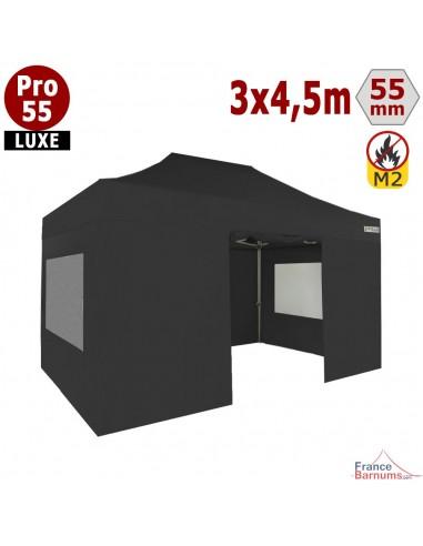 Barnum pliant 3x4,5m Alu Pro 55 noir avec murs fenêtres