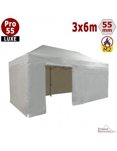 Barnum blanc professionnel 18m2 avec bâche de toit et côtés en PVC 580g/m2