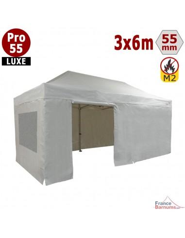 Barnum blanc professionnel 18m2 avec bâche de toit et côtés fenetres en PVC 580g/m2