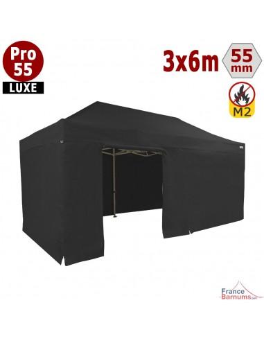 Barnum noir professionnel 18m2 avec bâche de toit et côtés en PVC 580g/m2