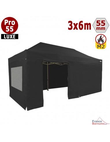 Barnum noir professionnel 18m2 avec bâche de toit et côtés fenetres en PVC 580g/m2