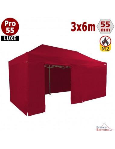 Barnum rouge professionnel 18m2 avec bâche de toit et côtés en PVC 580g/m2rouge