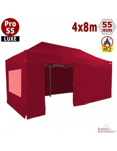 barnum pliant 4x8m avec cotés et fenêtres rouge