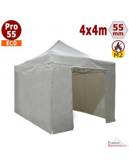 Barnum pliant  4 x4 Pro 55 Eco avec son toit en PVC 580g/m2 et ses murs en 380g/m2 Polyester