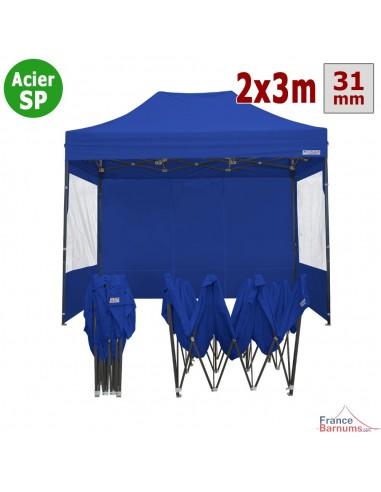 Barnum pliant - Tonnelle Acier Semi Pro 2mx3m bleu avec Pack Fenêtres