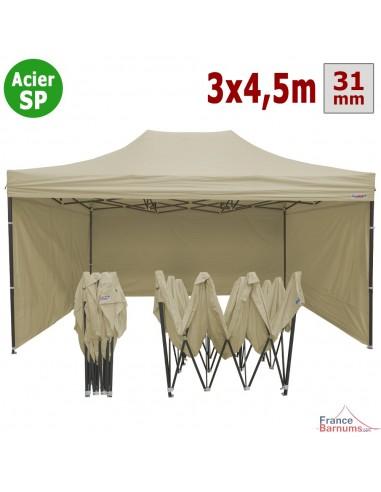 Barnum pliant - Tonnelle Acier Semi Pro 3mx4,5m BEIGE avec Pack 4 Côtés