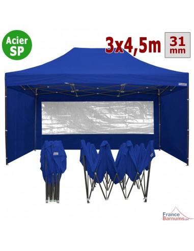 Barnum pliant - Tonnelle Acier Semi Pro 3mx4,5m BLEU avec Pack Fenêtres
