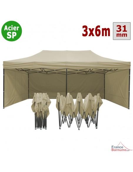 Barnum pliant - Tonnelle Acier Semi Pro 3mx6m BEIGE avec Pack 4 Côtés