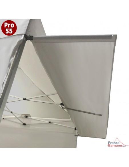 Casquette extension soleil blanche de 4m pour barnum pliant Hexa 55 en PVC 580g