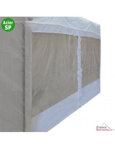 Parois de 6m avec fenêtres en 110g pour barnum pliant Acier Semi-Pro