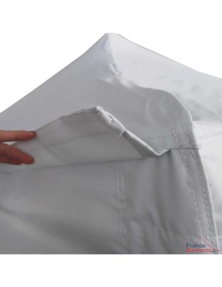 Barnum Acier Semi Pro Blanc 3x3m avec Casquette et Pack 4 côtés et sac de transport à roulettes